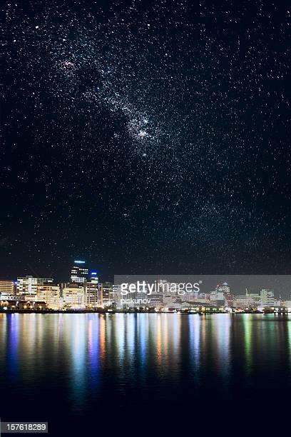 Wellington city under stars