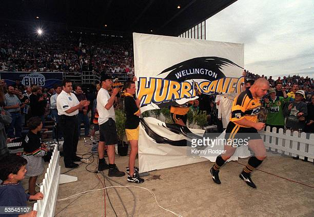 Wellington Hurricanes captain Mark Allen leads his side out onto the field for the inagural Super 12 match between the Wellington Hurricanes and the...