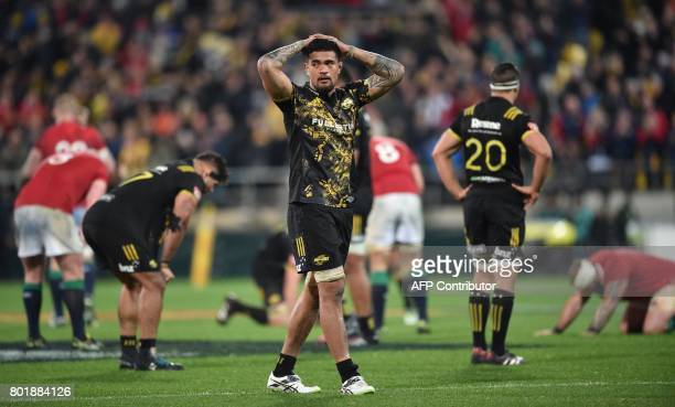 Wellington Hurricanes' Vaea Fifita reacts after a draw during their rugby union match against the British and Irish Lions at Westpac Stadium in...