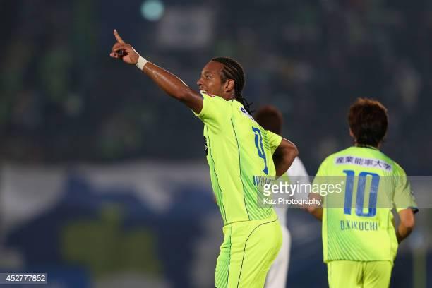 Wellington Luis de Souza of Shonan Bellmare celebrates scoring his team's first goal during the J League second division match between Shonan...