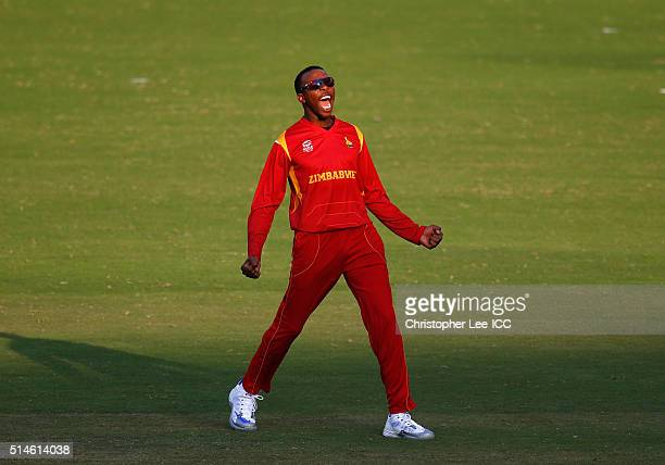Wellington Masakadza of Zimbabwe celebrates taking the wicket of Matt Machan of Scotland during the ICC Twenty20 World Cup Round 1 Group B match...