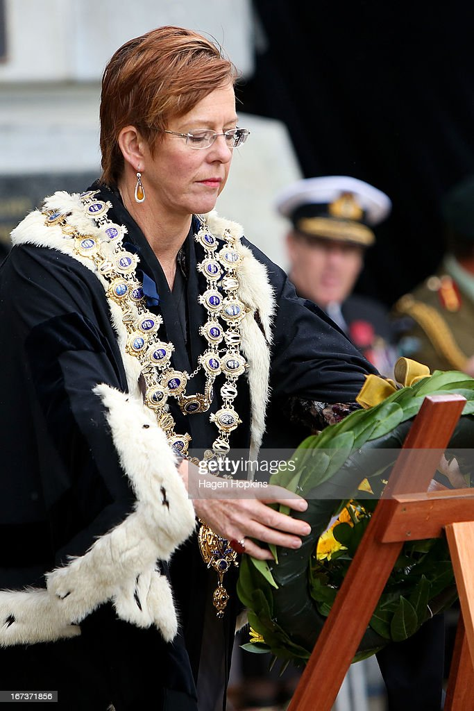 Wellington Mayor Celia Wade-Brown lays a wreath during the National Commemorative Service at the National War Memorial on April 25, 2013 in Wellington, New Zealand. Veterans, dignitaries and members of the public today marked the 98th anniversary of ANZAC (Australia New Zealand Army Corps) Day, April 25, 1915 when allied New Zealand and Australian First World War forces landed on the Gallipoli Peninsula. Commemoration events are held across both countries in remembrance of those who fought and died in all wars.