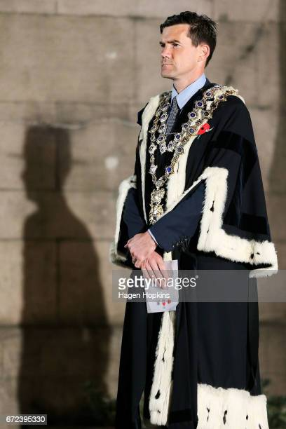 Wellington Mayor Justin Lester during Anzac Day dawn service at Pukeahu National War Memorial Park on April 25 2017 in Wellington New Zealand In 1916...