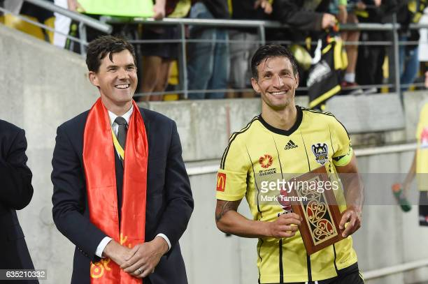 Wellington Mayor Justin Lester with Vince Lia of the Wellington Phoenix follwoing the round 15 ALeague match between the Wellington Phoenix and the...