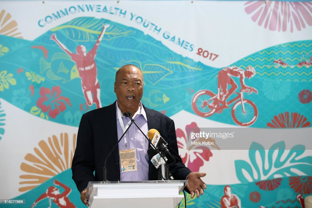 Wellington Miller, Chairman of the Bahamas 2017 Organising Committee speaks to the media during the 2017 Commonwealth Youth Games Opening Press Conference held at the Thomas A Robinson Stadium on July 17, 2017 in Nassau, Bahamas.