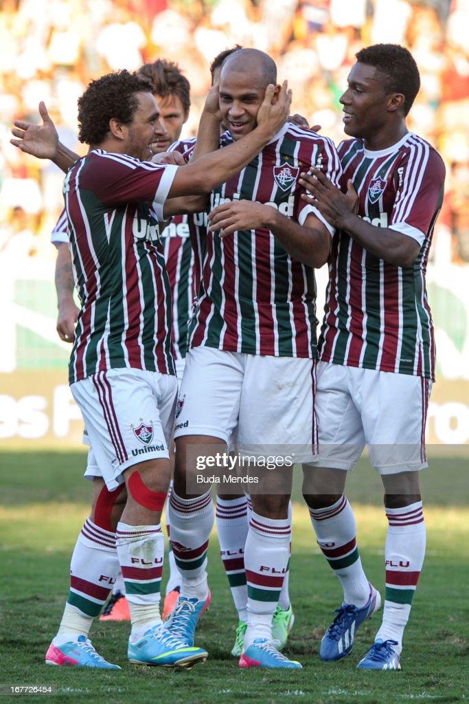Wellington Nem Carlinhos Rhayner of Fluminense celebrates a scored goal during the match between Fluminense and Volta Redonda as part of Rio State...