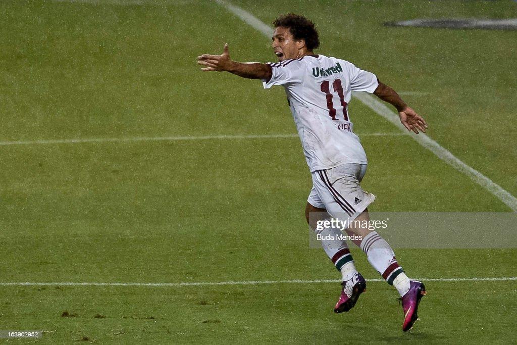 Wellington Nem of Fluminense celebrates a goal against Audax Rio during a match between Fluminense and Audax Rio as part of Carioca Championship 2013...