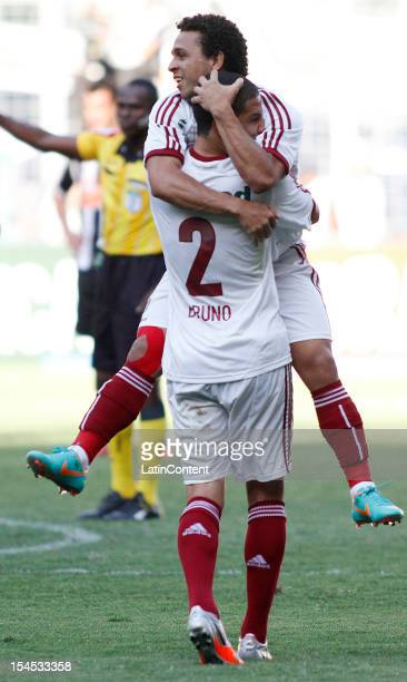 Wellington Nem of Fluminense celebrates a goal during a match between Atletico MG and Fluminense as part of Campeonato Brasileiro 2012 at Estadio...