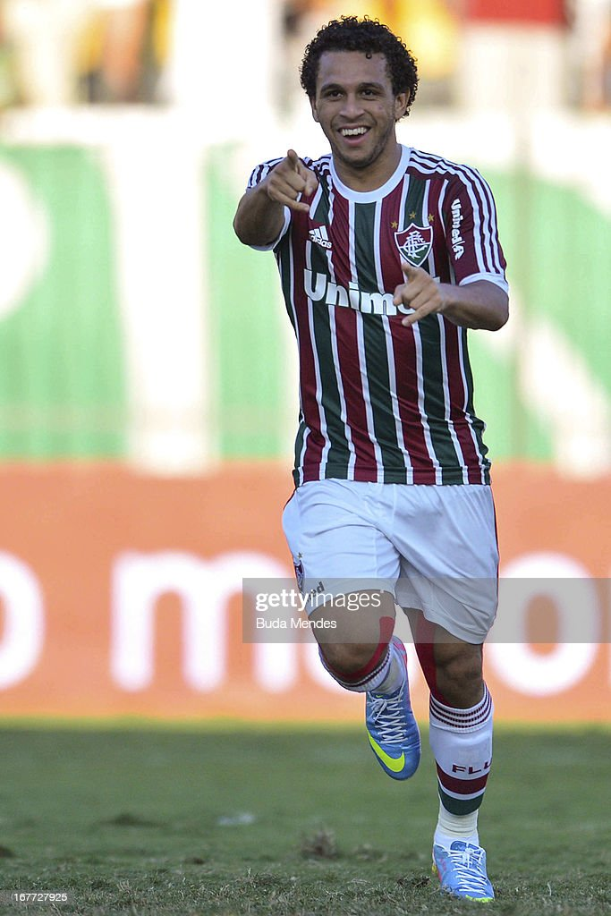 Wellington Nem of Fluminense celebrates a scored goal during the match between Fluminense and Volta Redonda as part of Rio State Championship 2013 at Raulino de Oliveira Stadium on April 28, 2013 in Volta Redonda, Brazil.