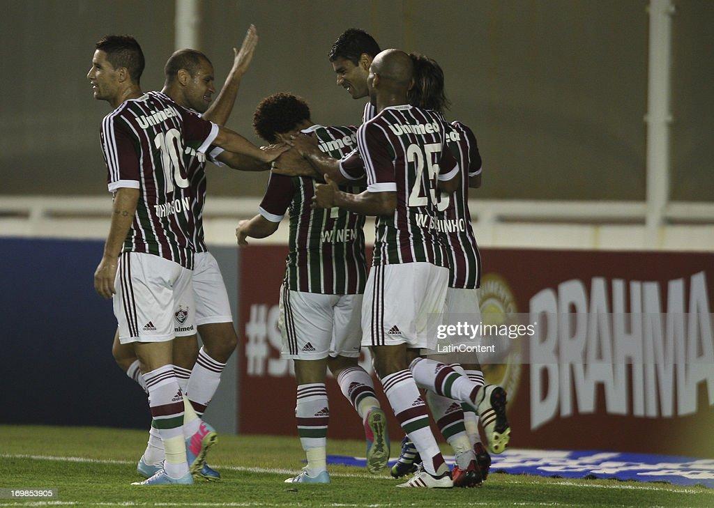 Wellington Nem of Fluminense celebrates a scored goal during the match between Fluminense and Criciuma as part of Brazilian Championship 2013 at...