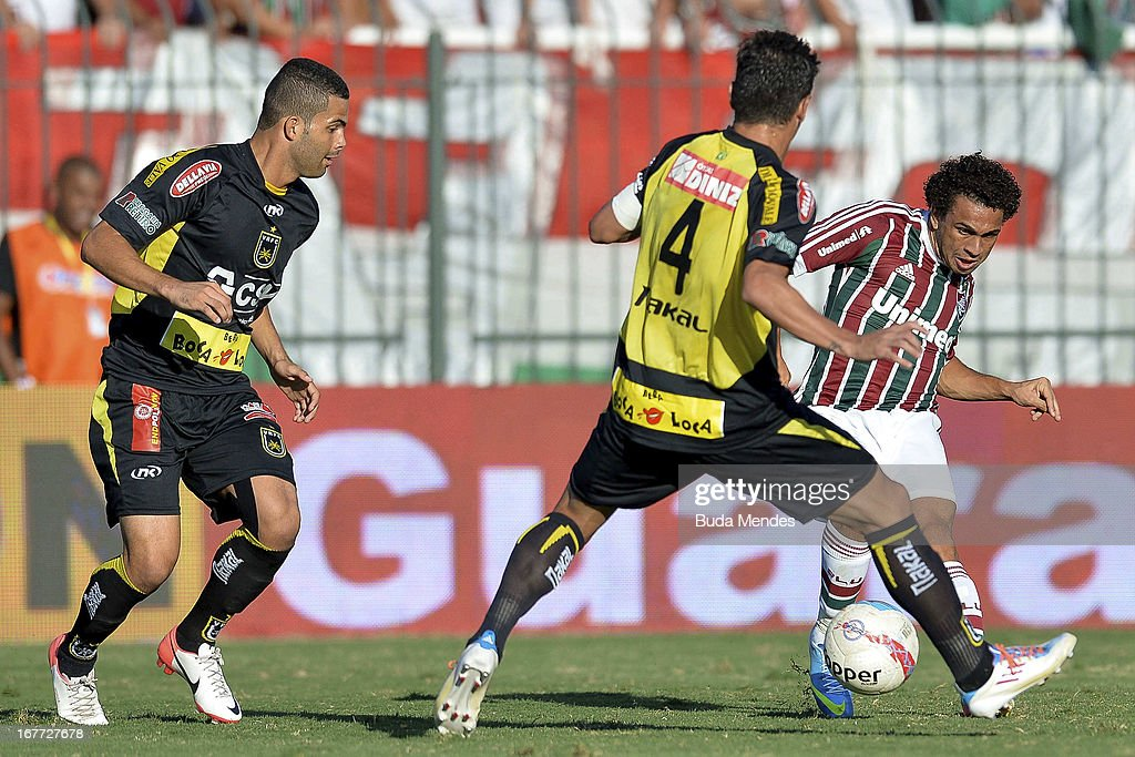 Wellington Nem of Fluminense fights for the ball during the match between Fluminense and Volta Redonda as part of Rio State Championship 2013 at...