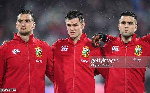 Wellington New Zealand 1 July 2017 British and Irish Lions players from left Sam Warburton Jonathan Sexton and Conor Murray during the Second Test...