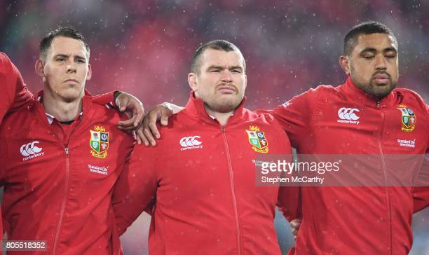 Wellington New Zealand 1 July 2017 British and Irish Lions players from left Liam Williams Jack McGrath and Taulupe Faletau during the Second Test...