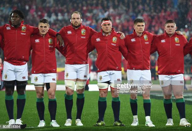 Wellington New Zealand 1 July 2017 British and Irish Lions players from left Maro Itoje Jonathan Davies Alun Wyn Jones CJ Stander Owen Farrell and...
