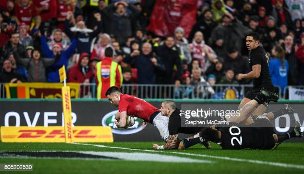Wellington New Zealand 1 July 2017 Conor Murray of the British Irish Lions goes over to score his side's second try during the Second Test match...