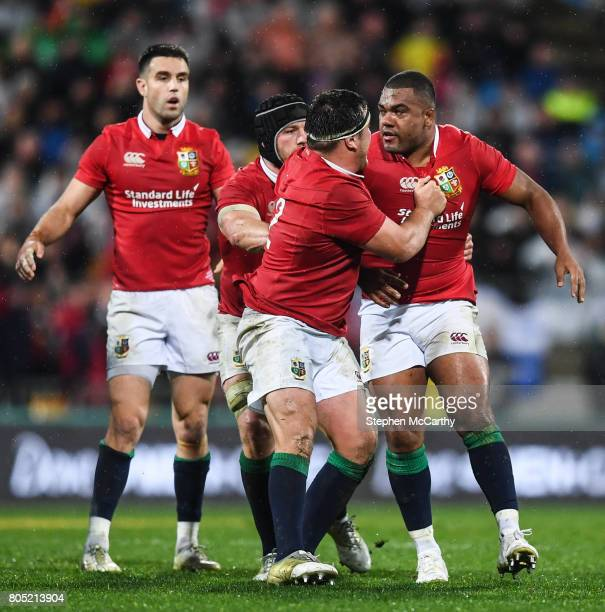 Wellington New Zealand 1 July 2017 Kyle Sinckler is restrained by his British Irish Lions teammates Jamie George Conor Murray and Sean O'Brien during...