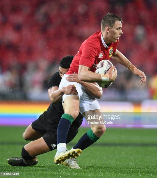 Wellington New Zealand 1 July 2017 Liam Williams of the British Irish Lions is tackled by Anton LienertBrown of New Zealand during the Second Test...