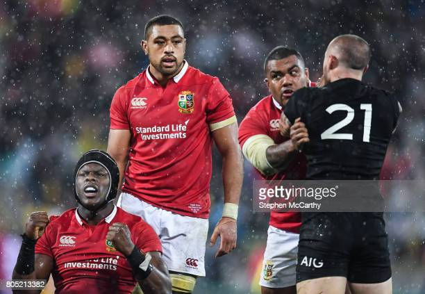 Wellington New Zealand 1 July 2017 Maro Itoje celebrates at the final whistle as teammate Kyle Sinckler of the British Irish Lions tussles with TJ...