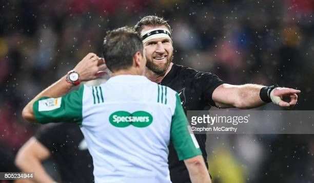 Wellington New Zealand 1 July 2017 Referee Jérôme Garcès and Kieran Read of New Zealand during the Second Test match between New Zealand All Blacks...