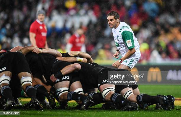 Wellington New Zealand 1 July 2017 Referee Jérôme Garcès during the Second Test match between New Zealand All Blacks and the British Irish Lions at...