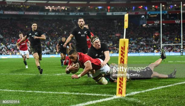 Wellington New Zealand 1 July 2017 Taulupe Faletau of the British Irish Lions goes over to score his side's first try during the Second Test match...