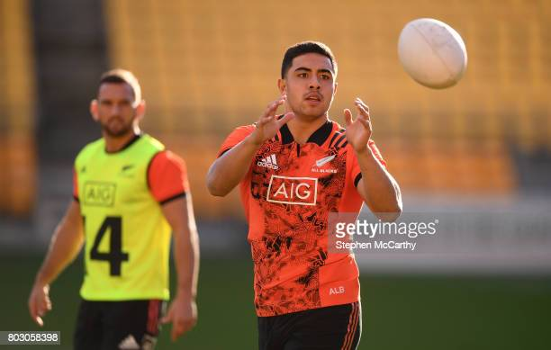 Wellington New Zealand 29 June 2017 Anton LienertBrown during a New Zealand All Blacks training session at Westpac Stadium in Wellington New Zealand