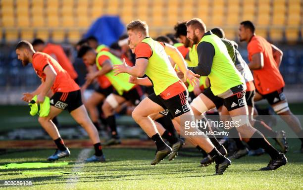 Wellington New Zealand 29 June 2017 Jack Goodhue during a New Zealand All Blacks training session at Westpac Stadium in Wellington New Zealand