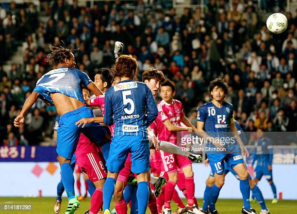 Wellington of Avispa Fukuoka heads to score his team's first goal during the JLeague match between Avispa Fukuoka and Yokohama FMarinos at the Level...