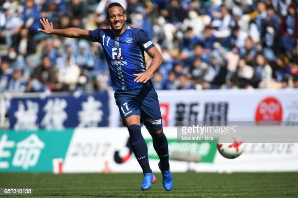 Wellington of Avispa Fukuoka in action during the JLeague J2 match between Avispa Fukuoka and Kyoto Sanga at Level 5 Stadium on March 12 2017 in...