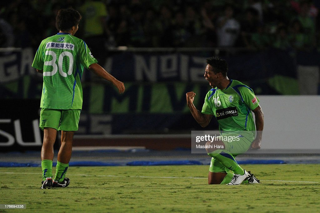 Wellington #16 of Shonan Bellmare celebrates the first goal during the J.League match between Shonan Bellmare and Jubilo Iwata at BMW Stadium Hiratsuka on August 17, 2013 in Hiratsuka, Kanagawa, Japan.