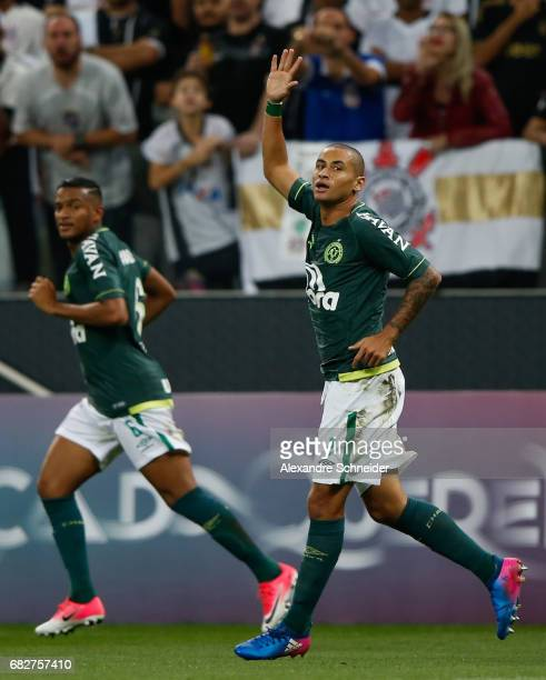 Wellington Paulista of Chapecoense celebrates after scoring their first goal during the match between Corinthians and Chapecoense for the Brasileirao...