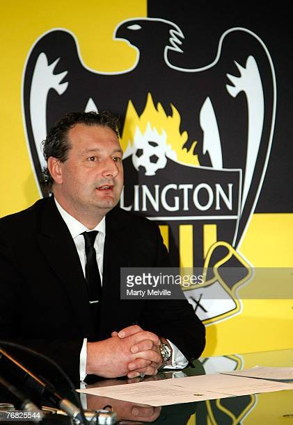 Wellington Phoenix CEO Tony Pignata addresses the media at a press conference at the Wellington Phoenix offices on September 18 2007 in Wellington...