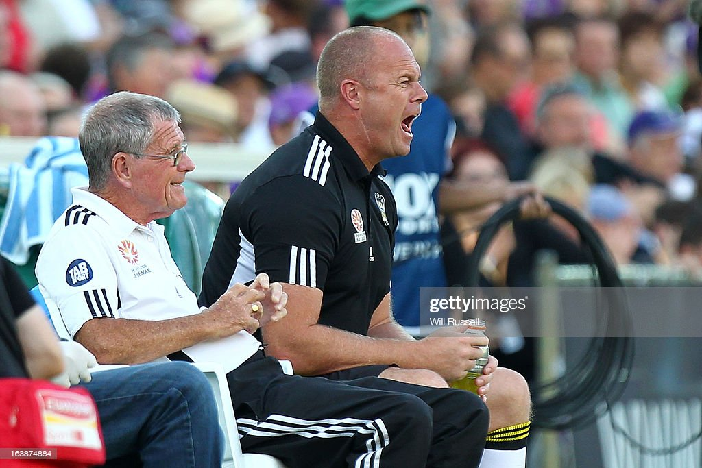Wellington Phoenix coach Chris Greenacre looks on from the sideline during the round 25 A-League match between the Perth Glory and the Wellington Phoenix at nib Stadium on March 17, 2013 in Perth, Australia.