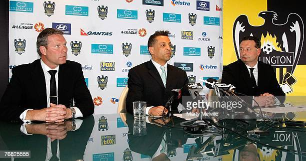 Wellington Phoenix head coach Ricki Herbert Wellington Phoenix Owner Terry Serepisos and Wellington Phoenix CEO Tony Pignata address the media at a...