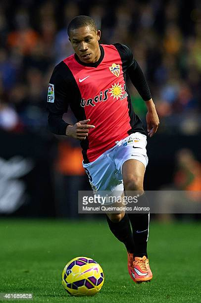 Wellington Silva of Almeria runs with the ball during the La Liga match between Valencia CF and UD Almeria at Estadi de Mestalla on January 17 2015...