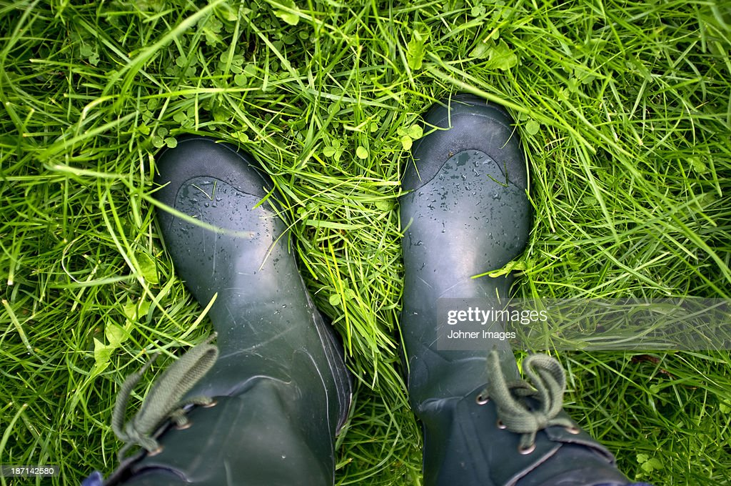 Wellingtons on grass