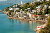 Wellington's Oriental Bay and the hillside suburb of Roseneath are the cities premier suburbs. The photograph shows a calm bay, the Oriental Bay Parade winding along the shoreline and the expensive ho