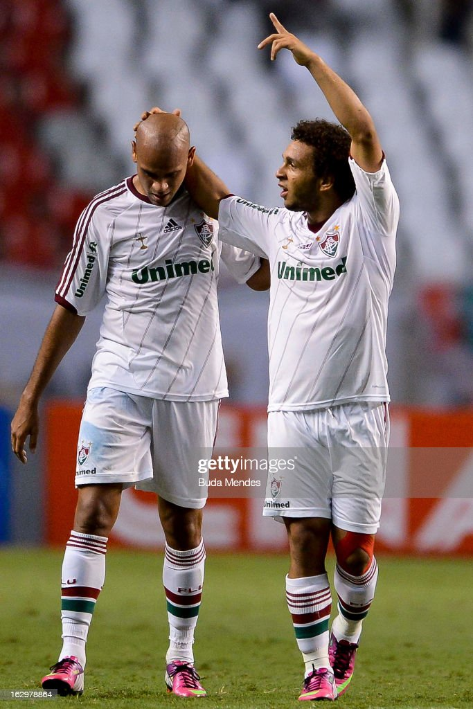 Wellinton Nem and Carlinhos of Fluminense celebrate a scored goal against Vasco during the match between Fluminense and Vasco as part of Carioca...