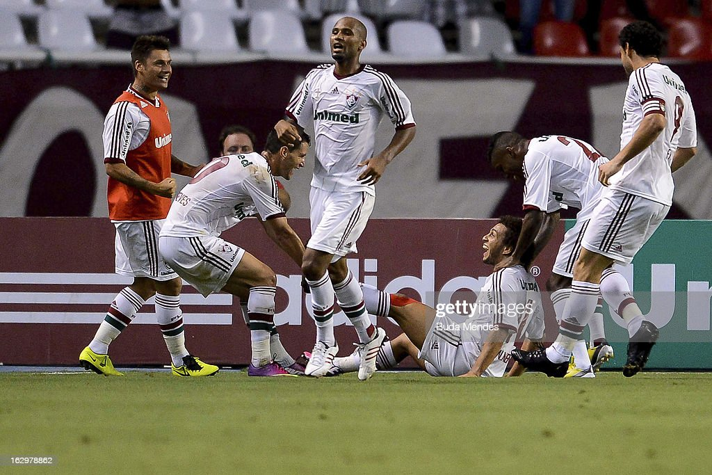 Wellinton Nem of Fluminense celebrates a scored goal against Vasco during the match between Fluminense and Vasco as part of Carioca Championship 2013...