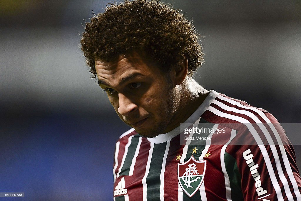 Wellinton Nem of Fluminense during a match between Fluminense and Gremio as part of the Copa Libertadores 2013 at Joao Havelange Stadium on February...
