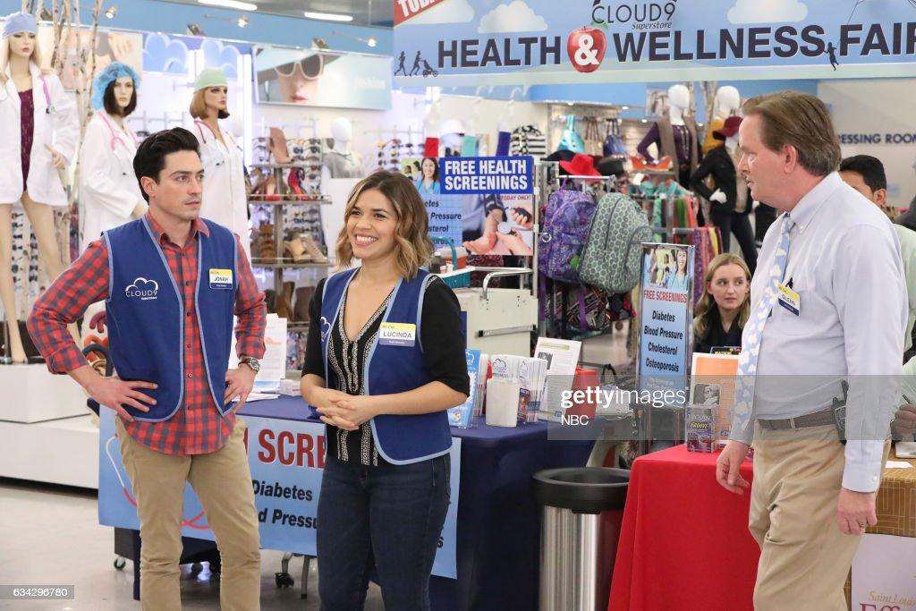 SUPERSTORE -- 'Wellness Fair' Episode 216 -- Pictured: (l-r) Ben Feldman as Jonah, America Ferrera as Amy, Mark McKinney as Glenn --