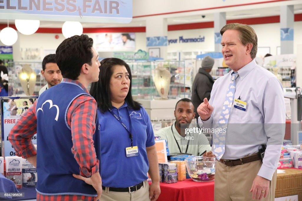 SUPERSTORE -- 'Wellness Fair' Episode 216 -- Pictured: (l-r) Ben Feldman as Jonah, Kaliko Kauahi as Sandra, Mark McKinney as Glenn --