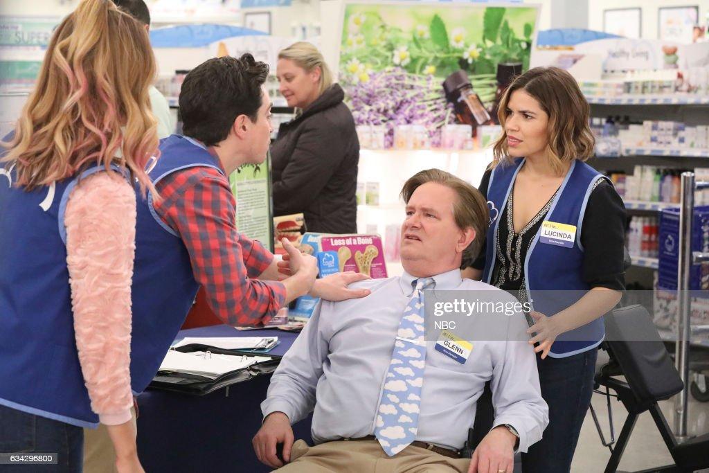 SUPERSTORE -- 'Wellness Fair' Episode 216 -- Pictured: (l-r) Nichole Bloom as Cheyenne, Ben Feldman as Jonah, Mark McKinney as Glenn, America Ferrera as Amy --