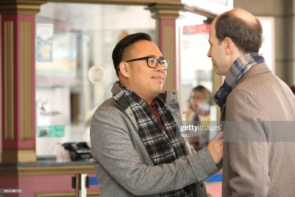 SUPERSTORE -- 'Wellness Fair' Episode 216 -- Pictured: (l-r) Nico Santos as Mateo, Michael Bunin as Jeff --