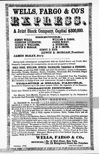 Wells Fargo Co poster advertising the company's services October 1852