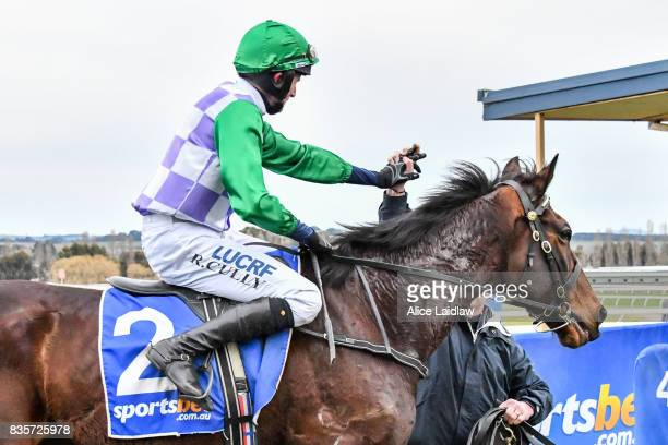 Wells ridden by Richard Cully returns to scale after winning the ECycle Solutions Grand National Steeplechase at SportsbetBallarat Racecourse on...