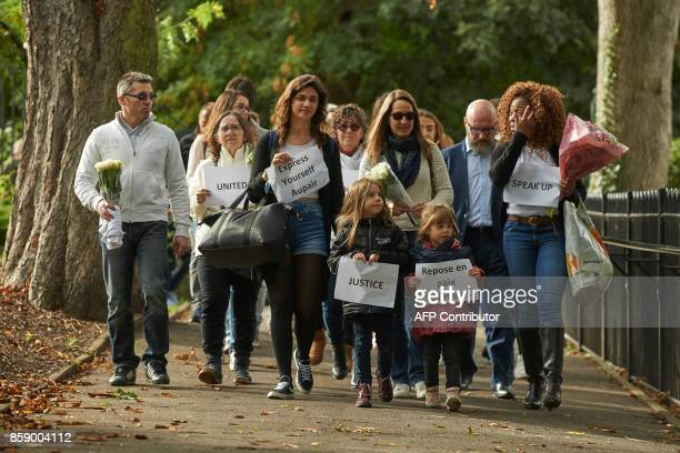Wellwishers friends and family members including French aupair Victoria Patillas Navas and cousin Melanie Lionnet of slain French aupair Sophie...
