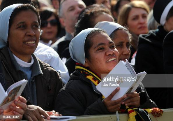 Wellwishers gather during the Inauguration Mass for Pope Francis in St Peter's Square on March 19 2013 in Vatican City Vatican The mass is being held...