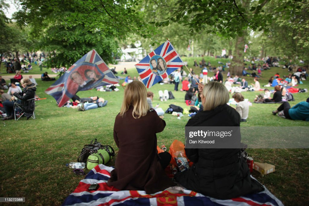 Well-wishers gather in St James's park after the royal wedding on April 29, 2011 in London, England. The marriage of the second in line to the British throne was led by the Archbishop of Canterbury and was attended by 1900 guests, including foreign Royal family members and heads of state. Thousands of well-wishers from around the world have also flocked to London to witness the spectacle and pageantry of the Royal Wedding.