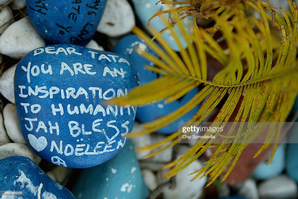 Well-wishers have been leaving goodwill messages written on stones and placed inside planters outside of former South Africa President Nelson Mandela's residence April 1, 2013 in Johannesburg, South Africa. Mandela, 94, is recovering from pneumonia in hospital, his third stay in the last four months. Referring to Mandela by clan name, Madiba, President Jacob Zuma said, 'We appeal to the people of South Africa and the world to pray for our beloved Madiba and his family and to keep them in their thoughts.' Mandela's lungs were damaged when he contracted tuberculosis during his 27 years in the infamous Robben Island prison. Mandela became the nation's first democratically elected president in 1994 following the end of apartheid.